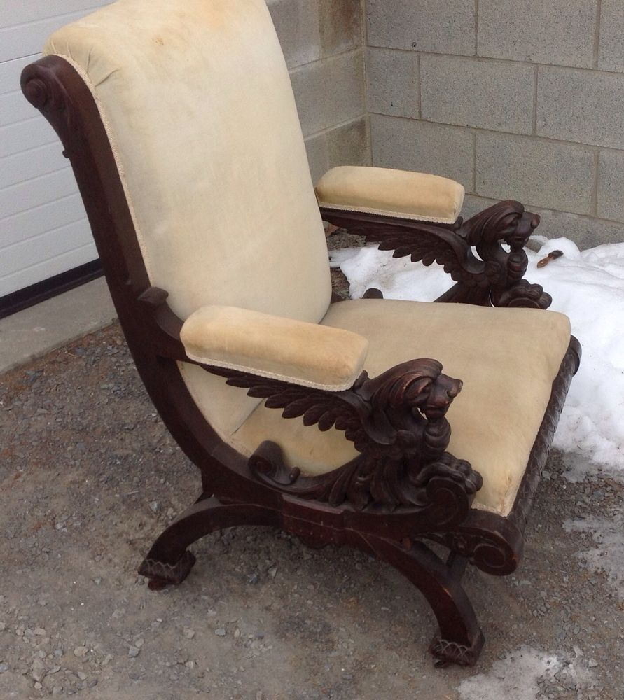 Victorian Carved Oak Winged Griffin Arm Chair Attr R J