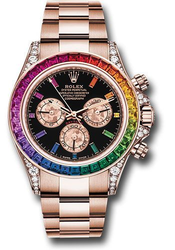 Rolex Everose Cosmograph Daytona 40 Watch - 36 Baguette-Cut Sapphires In Rainbow Graduation Bezel - Black Rainbow Sapphire Dial - 116595RBOW bkgcs #rolexwatches 40mm 18K Everose case, screw-down steel back, end pieces set with diamonds, screw-down crown and push buttons with Triplock triple waterproofness, fixed 18K yellow gold bezel set with 36 baguette-cut sapphires in rainbow graduation, scratch-resistant sapphire crystal, black dial, 11 baguette-cut rainbow colored sapphire hour markers, Rol #rolexwatches