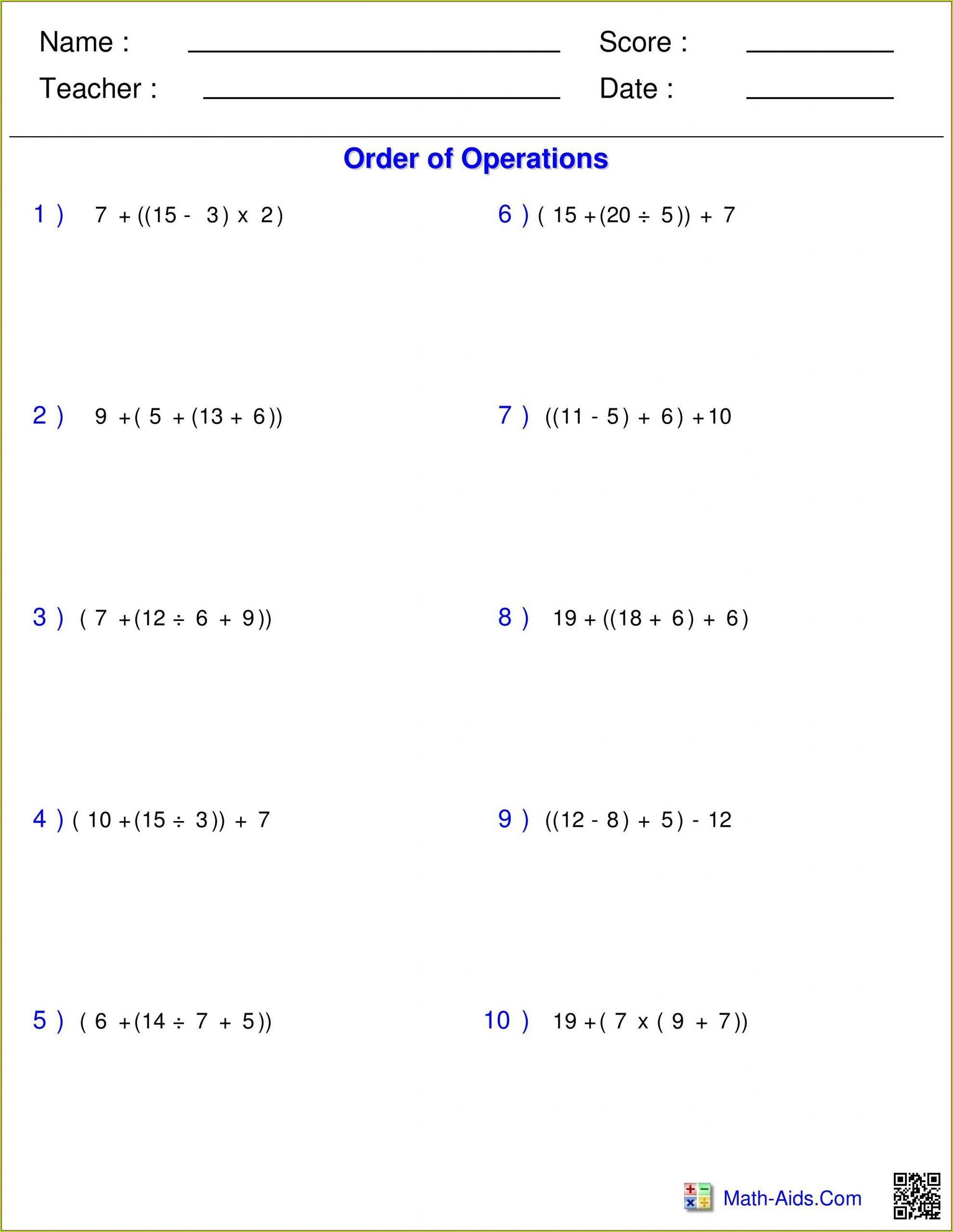5th Grade Pemdas Worksheets In