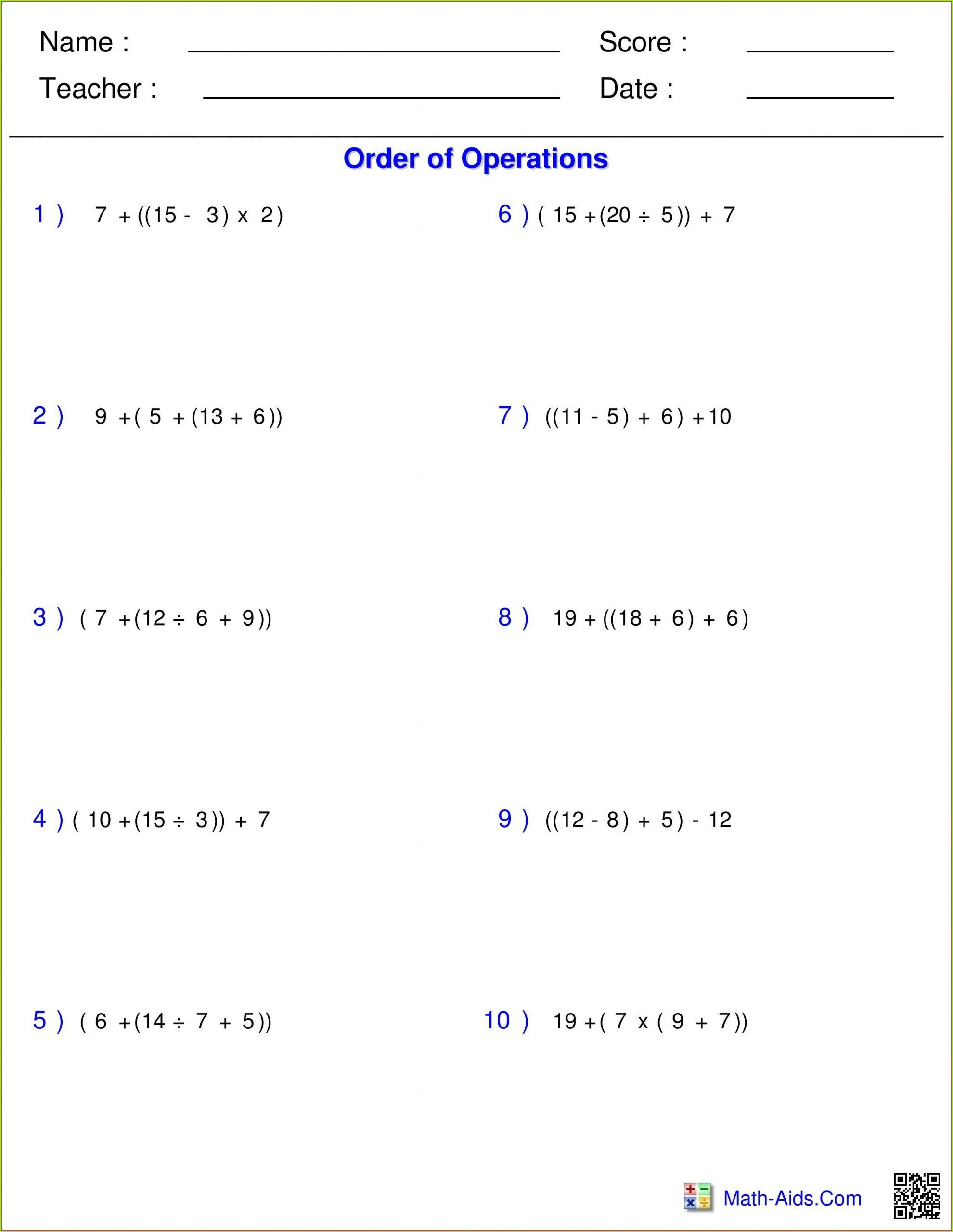 5th Grade Pemdas Worksheets Order Of Operations Pemdas Worksheets Fraction Word Problems