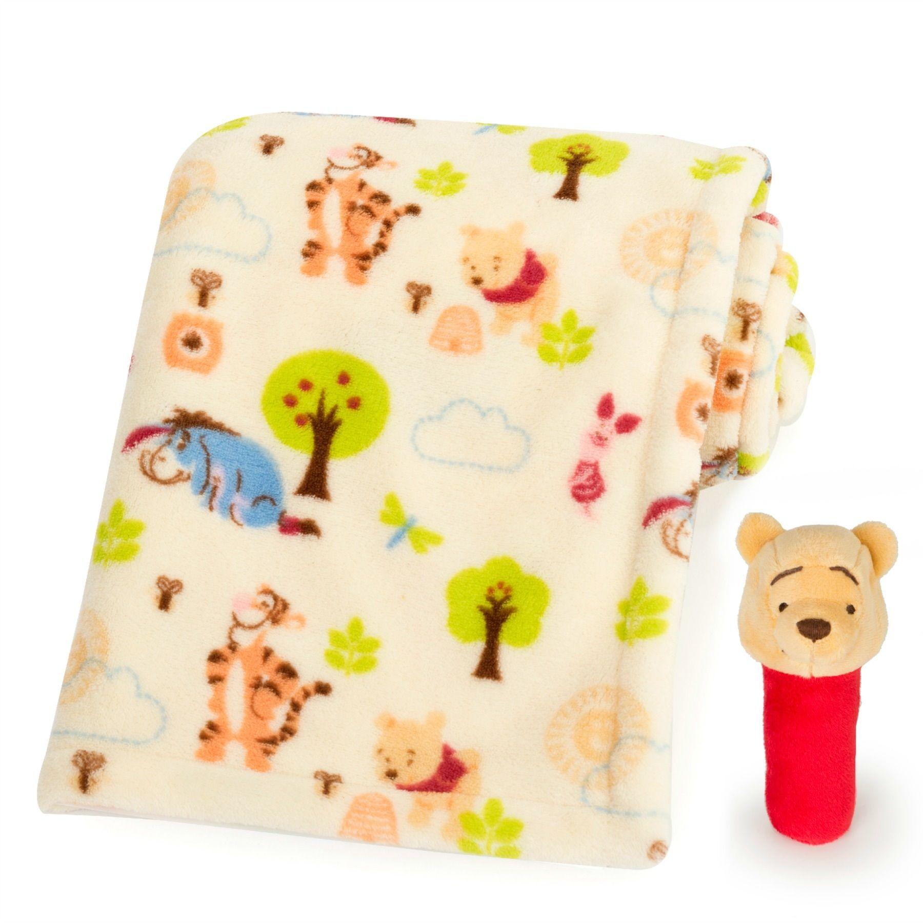 Winnie the pooh printed blanket and stick rattle set - Habitacion winnie the pooh ...