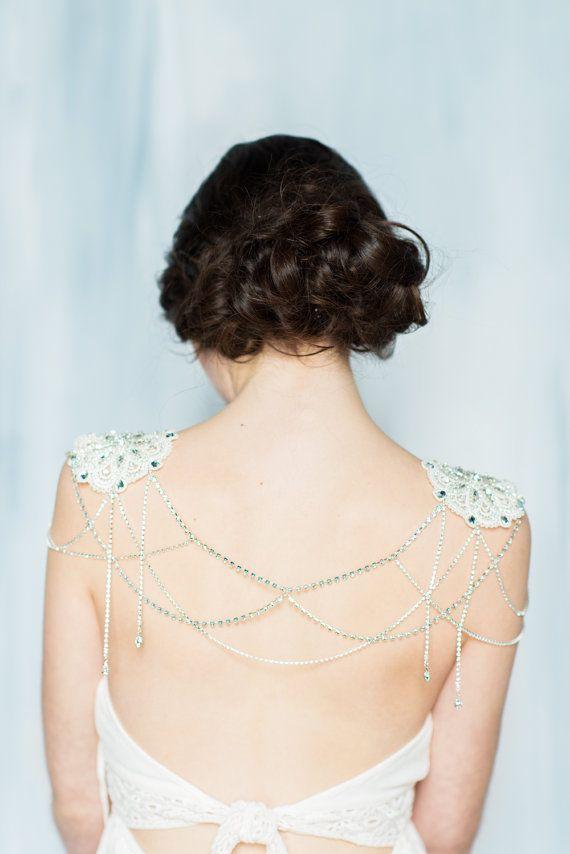 Silver Shoulder Necklace Rose Gold Body Chain Rhinestone Shoulder