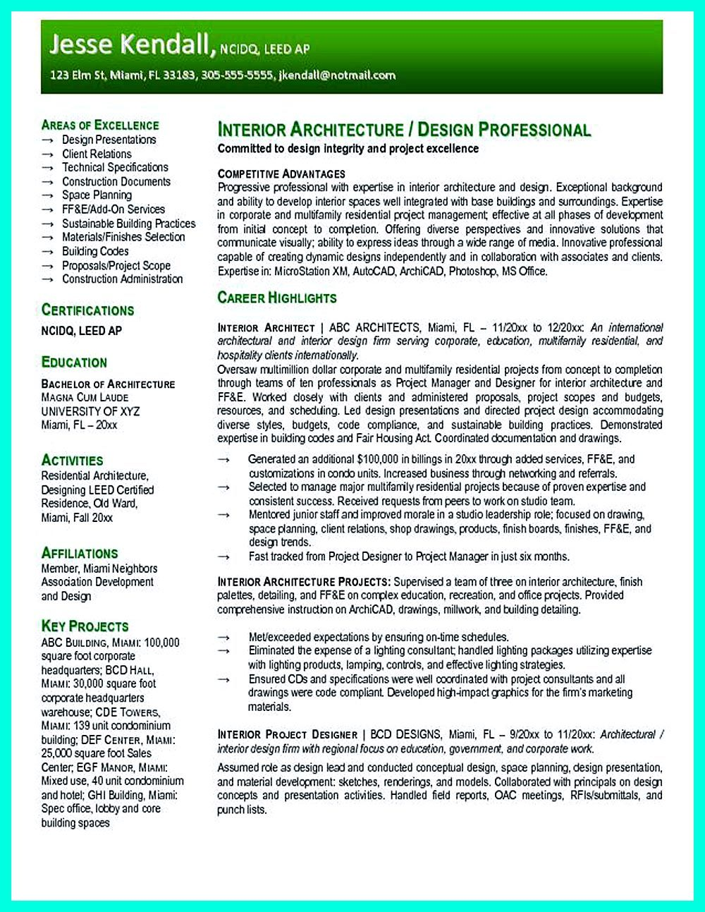 in the data architect resume  one must describe the professional profile of the applicant as