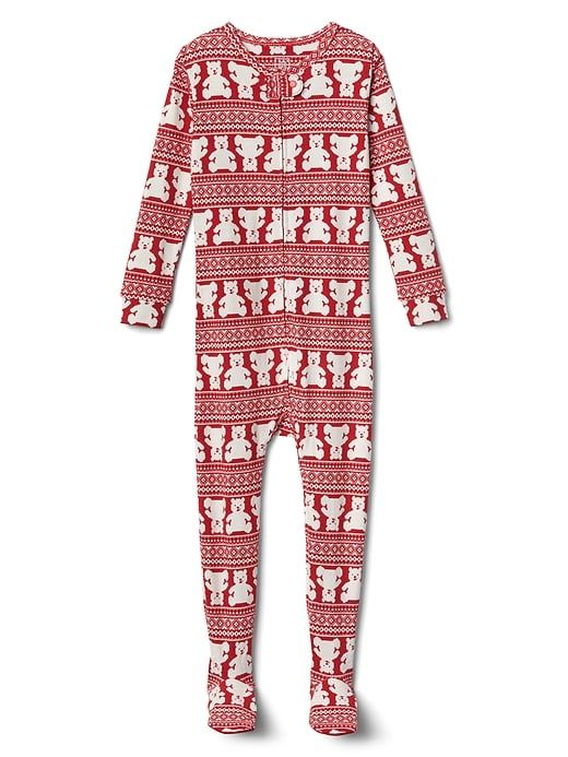 426e3d53b1 Gap Baby Bear Fair Isle Footed Sleep One-Piece Modern Red Cute Christmas  Pajamas