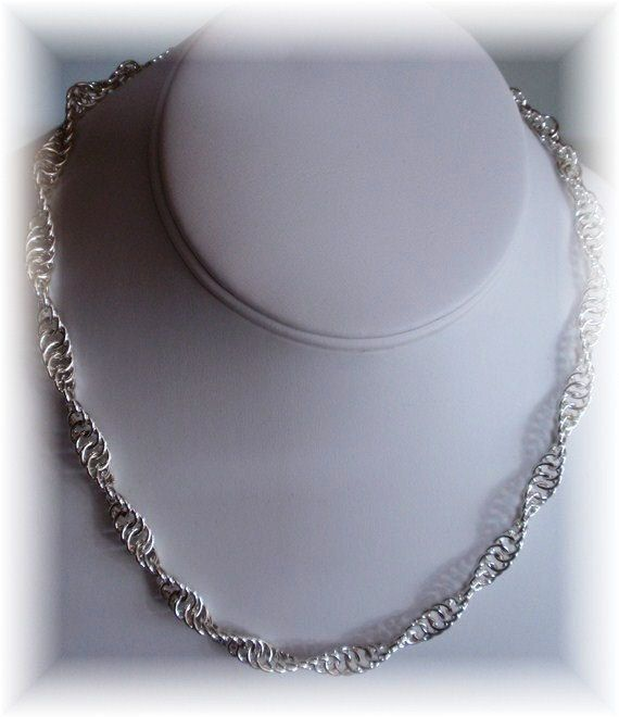 Chain Maille Continuous Twist Necklace hand crafted by Marsha Caristi at SomethingSilverCM, $95.00