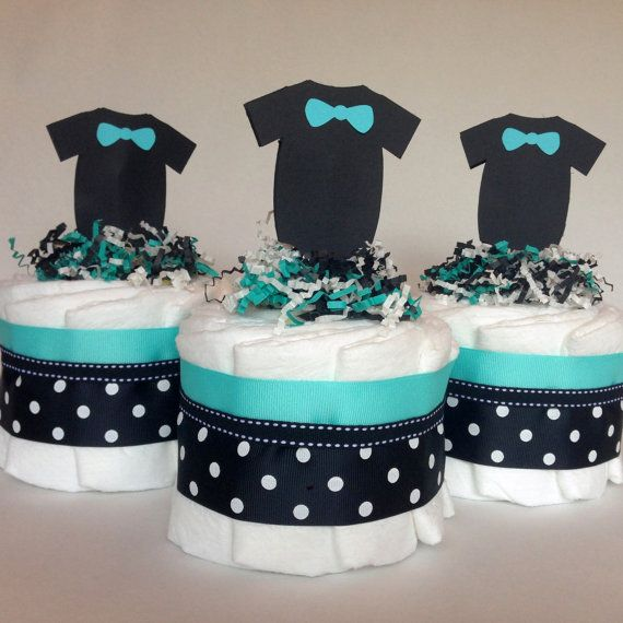 Bowtie & Mustache  Mini Baby Diaper Cakes in by CheekyDiaperCakes