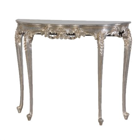 Tiffany French Silver Half Moon Console Table