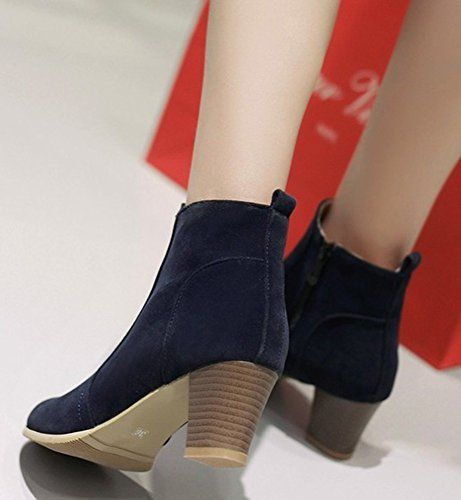 Women's Fashion Faux Suede Side Zipper Mid Chunky Heel Ankle Boots