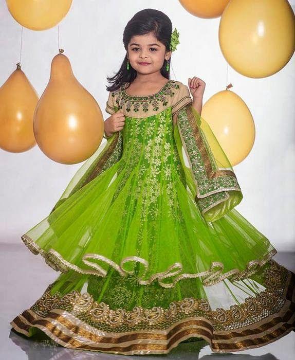 Light Green Net Long Frock Kids Dress Patterns Kids