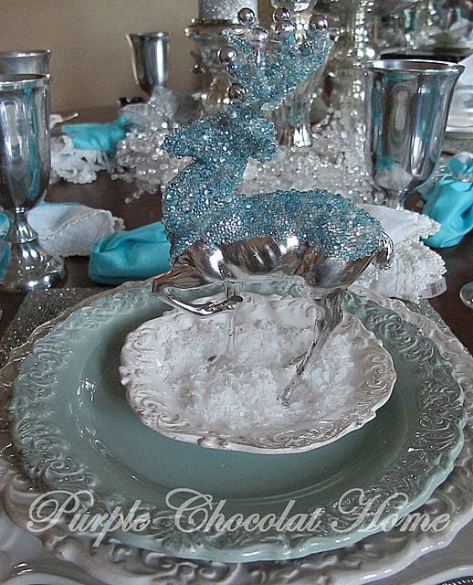 Purple Chocolat Home Icy Winter Stag Table Holiday Tablescapes Blue Christmas Christmas Tablescapes