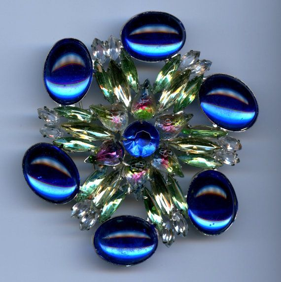 Massive Blue and Green Runway Brooch Vintage by 2BourgeoisHippies