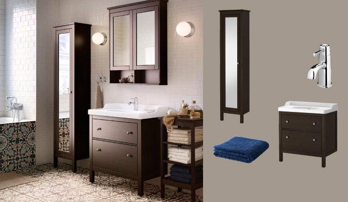 Sortbrunt HEMNES/RÄTTVIKEN skab med vask og 2 skuffer og sortbrunt HEMNES højt spejlskab og vægskab