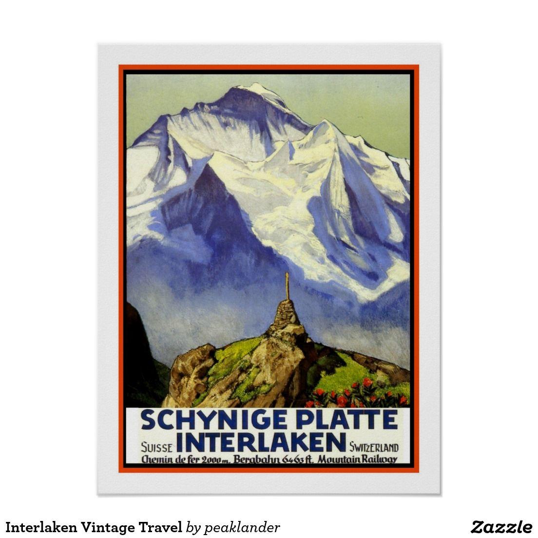 Interlaken vintage travel poster with images