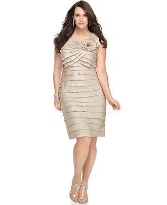 London Times Plus Size Dress Rosette Cocktail Dress Plus Size