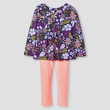 Toddler Girls' Top and Bottom Legging Set Floral Purple - Cat & Jack™ : Target $11.99