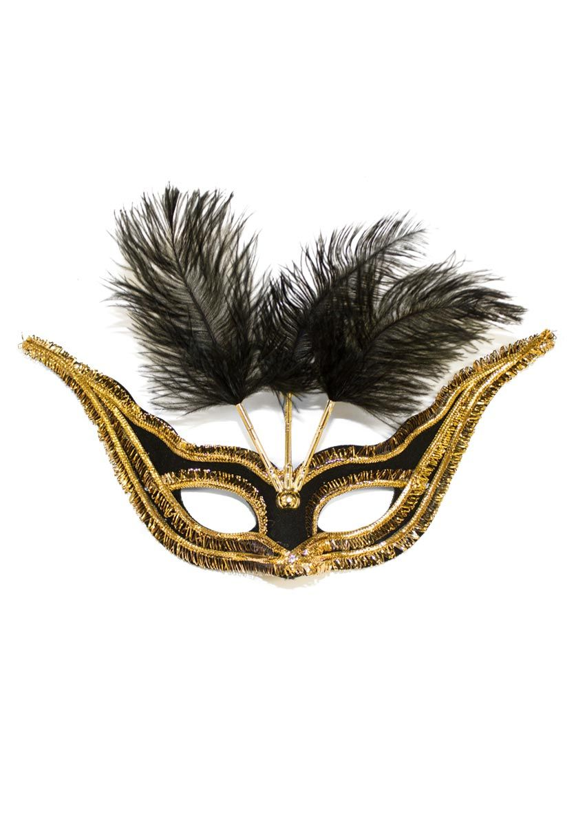 womens ladies fancy dress accessory CARNIVAL MASQUERADE FEATHER PLUME EYE MASK