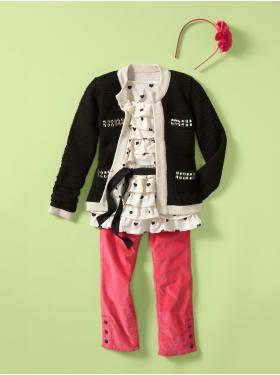 Pop, Pop, Pink:  jeweled pocket cardigan, heart ruffle top, velvet capri pants - adorable!