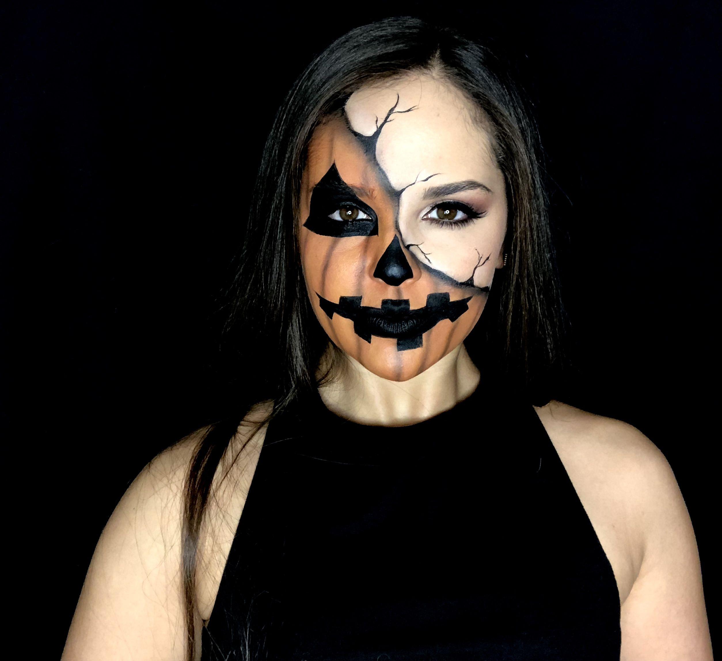 Half Pumpkin Face Halloween makeup look Halloween makeup