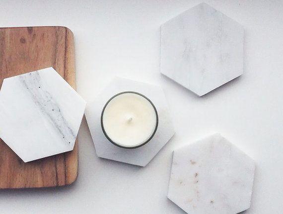 Italian Marble Hexagonal Drink Coasters Choose From A Set Of 4 Or 6 Marble Decor Marble Coasters Hexagon Coasters