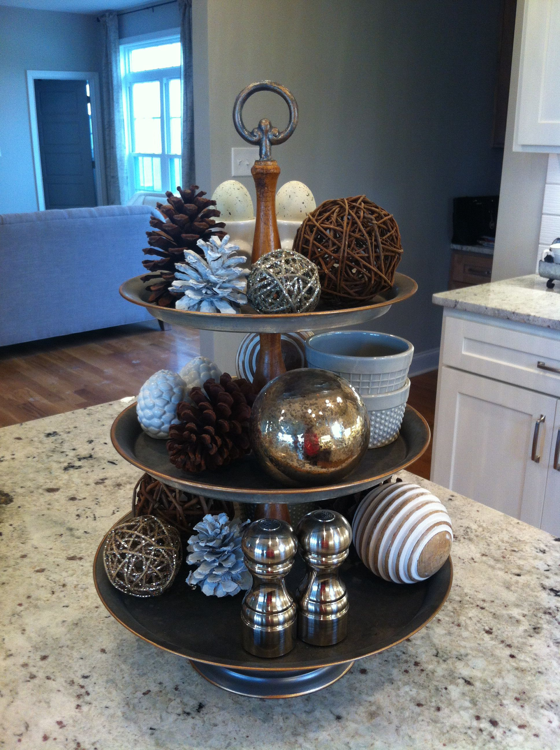 Winter Tiered Tray Stand Kitchen Tray Decor Kitchen Table Centerpiece Tiered Stand