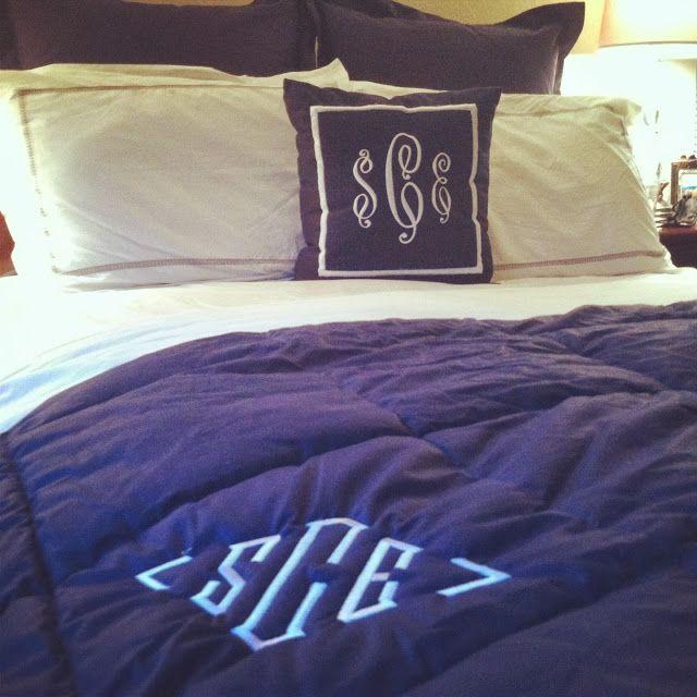 Summer Wind// Navy Blue And White Monogram Bedding