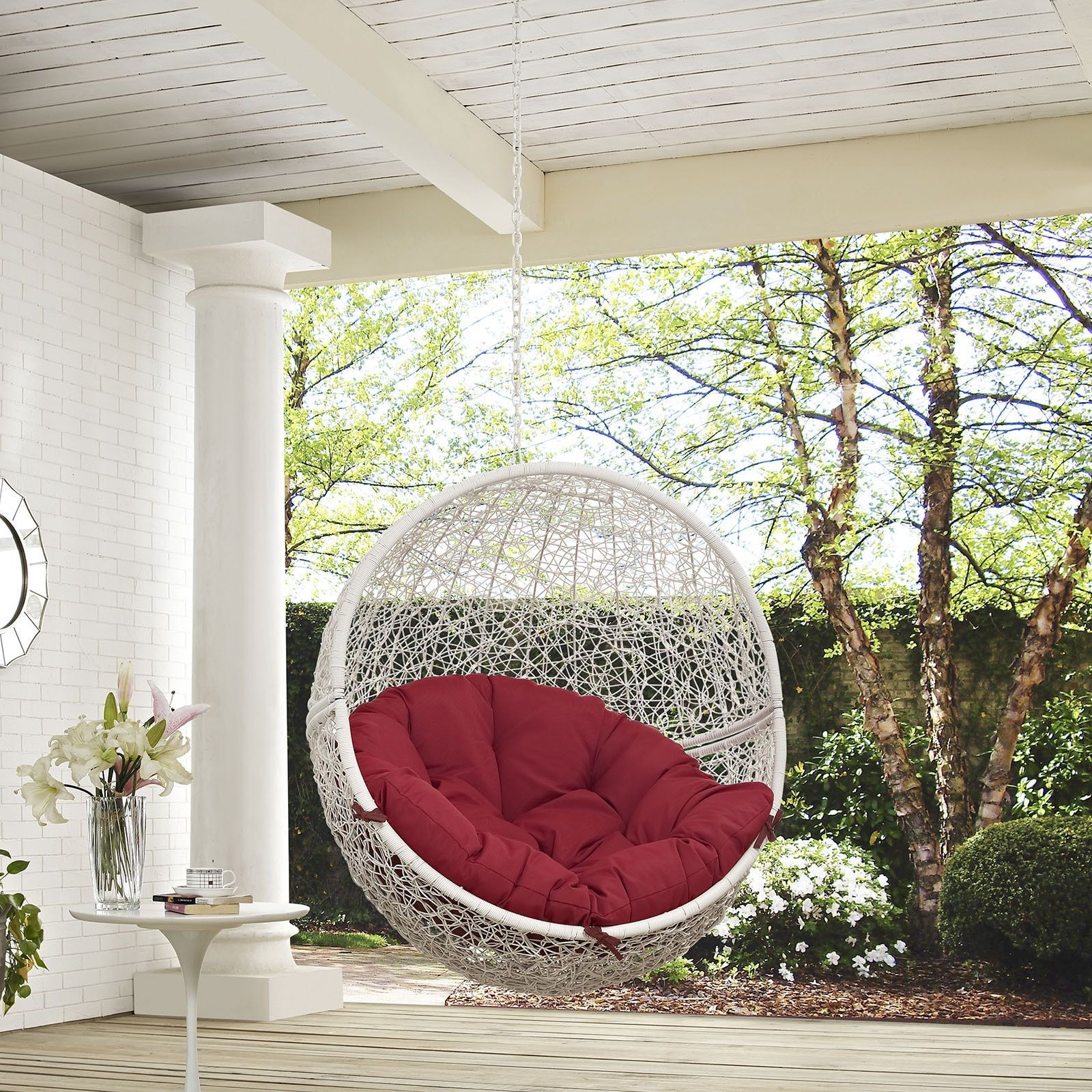 Modway Hide Outdoor Patio Swing Chair (White Turquoise), Beige Off White,