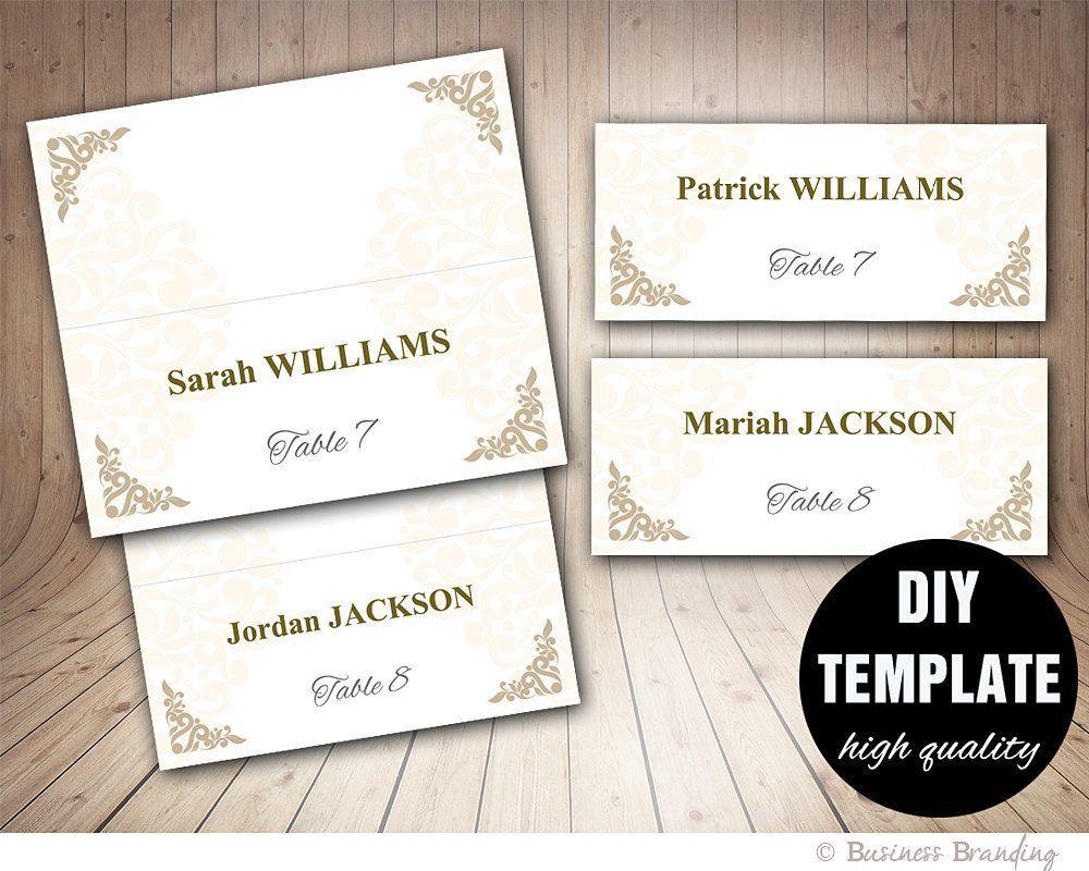 Printable Wedding Placecard Template 3 5x2 Foldover Diy With Fold Over Place Place Card Template Wedding Place Card Templates Printable Place Cards Templates Fold over place card template