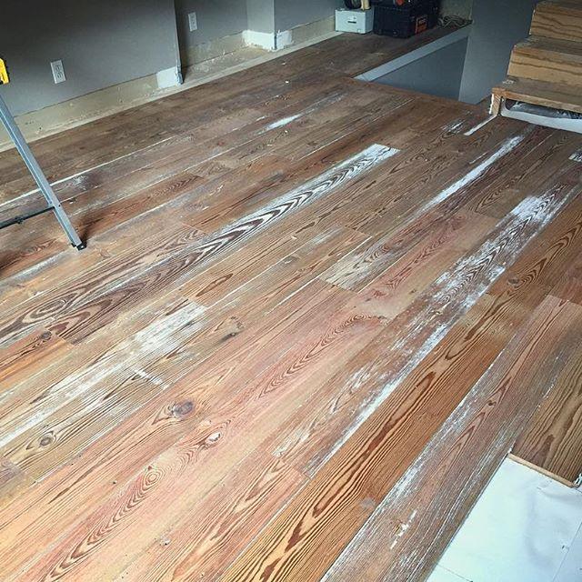 Current Job: Reclaimed Barn Wood Heart Pine Flooring. We
