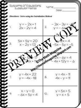 Systems of Equations Substitution Method Worksheet A.CED.3 ...