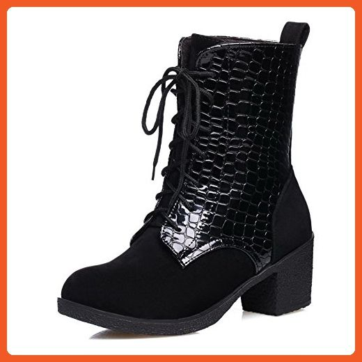Women's High-Heels Round Closed Toe Blend Materials Lace-up Boots