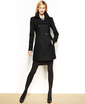 Anne Klein Petite Wool-Blend Double-Breasted Pea Coat - Coats ...