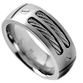 8mm Men S Titanium Ring Wedding Band With Stainless Steel Cables And Screw Design Titanium Rings For Men Rings For Men Titanium Wedding Rings