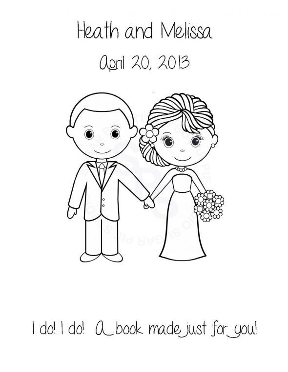 wedding bride and groom color book pages - Google Search | Wedding ...