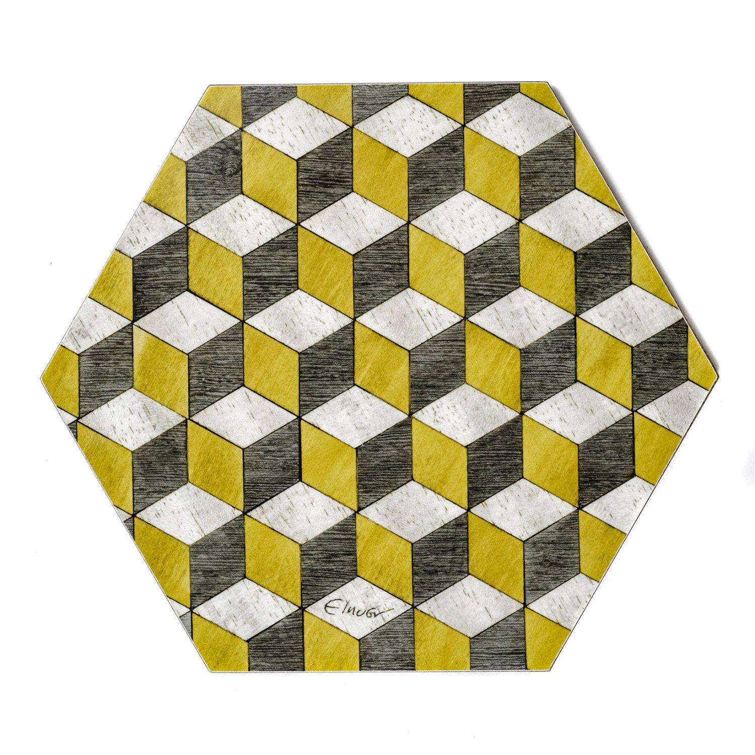 Yellow Placemats · 4 Hexagon Place Mats £32 Per Set Melamine Coated For Heat  Resistance Green Baize