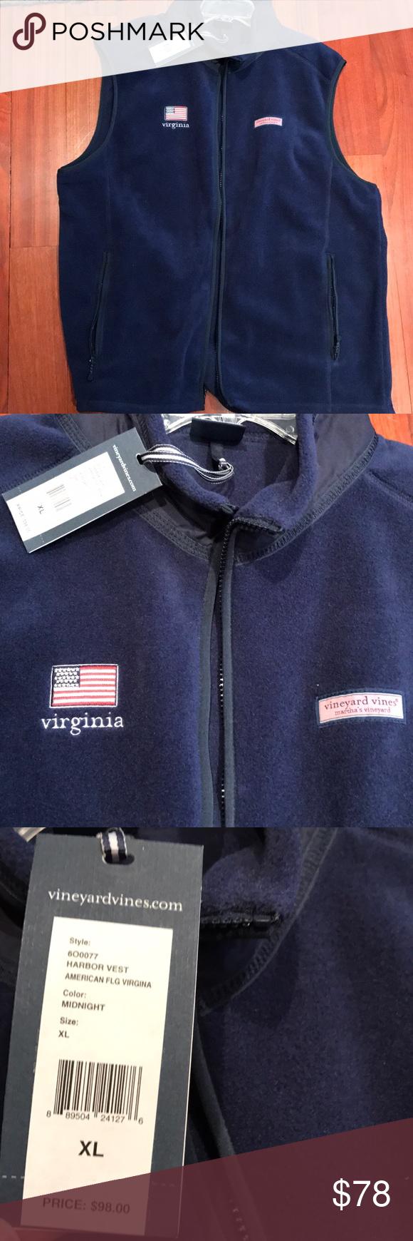Menus vineyard vines xl harbor vest brand new american flag