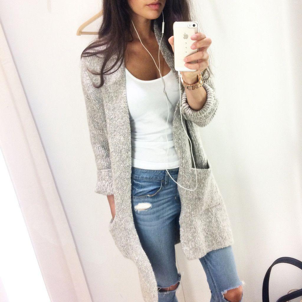 35977798f0 Fashion Light gray cardigan coat Jacket