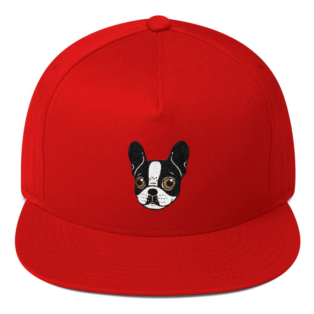 0110e87ceb6c3 Double Hooded Pied French Bulldog Puppy Flat Bill Cap