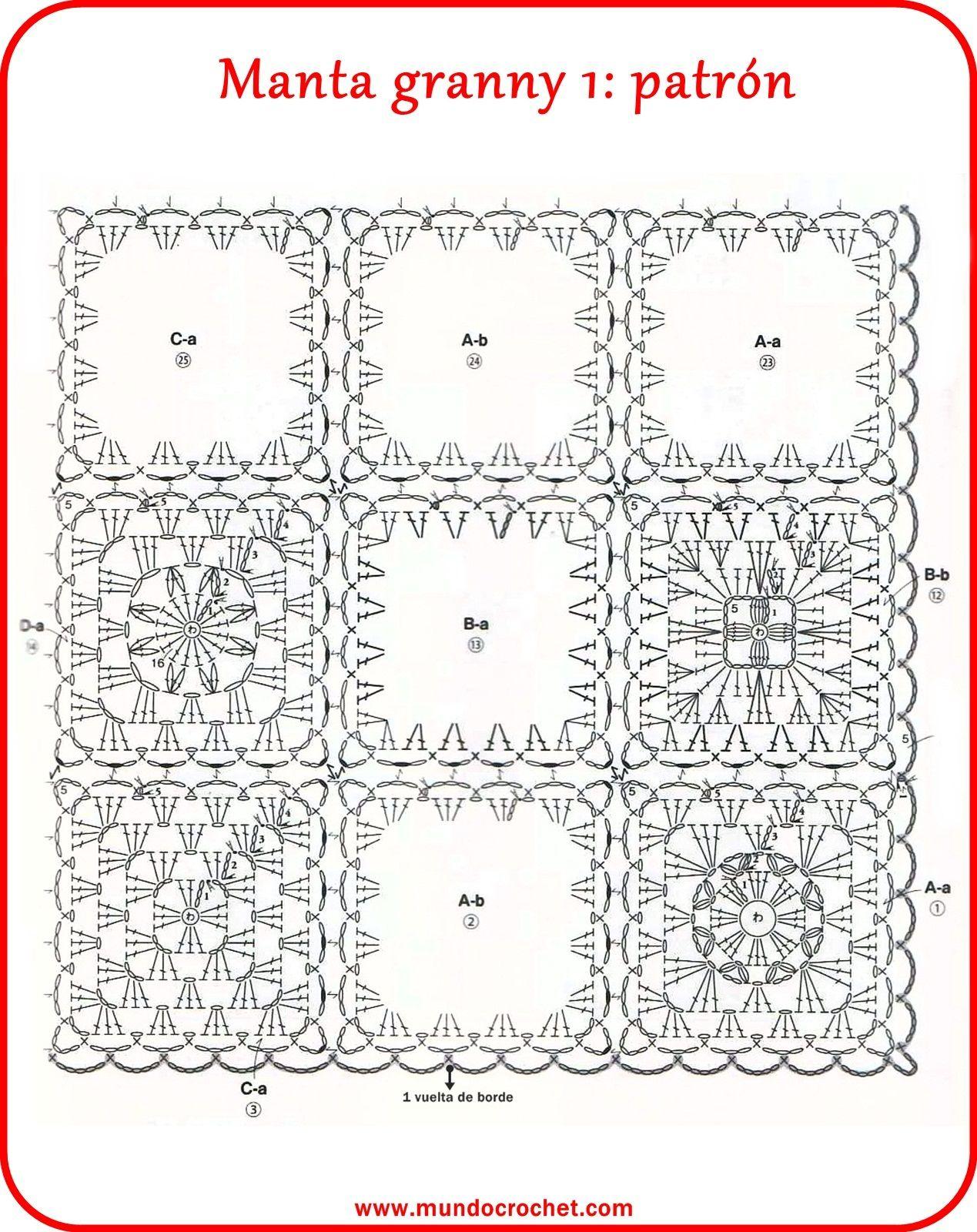 Manta granny 1-2 | Afganos | Pinterest | Patrones manta, Manta y ...
