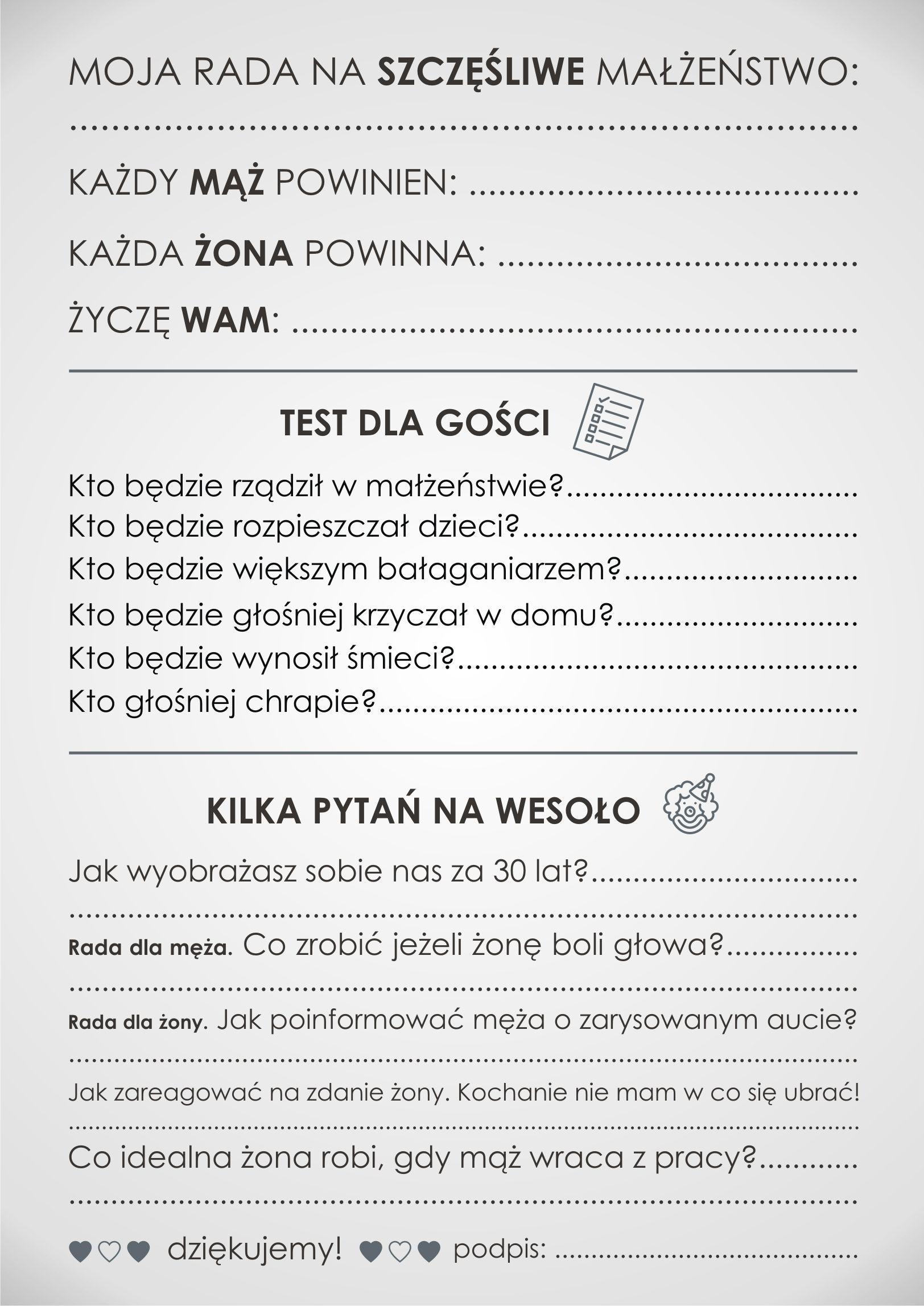 Ankieta Weselna Dla Gosci Dwustronna Pdf 7460195044 Allegro Pl Wedding Writing Wedding Vows Wedding Time