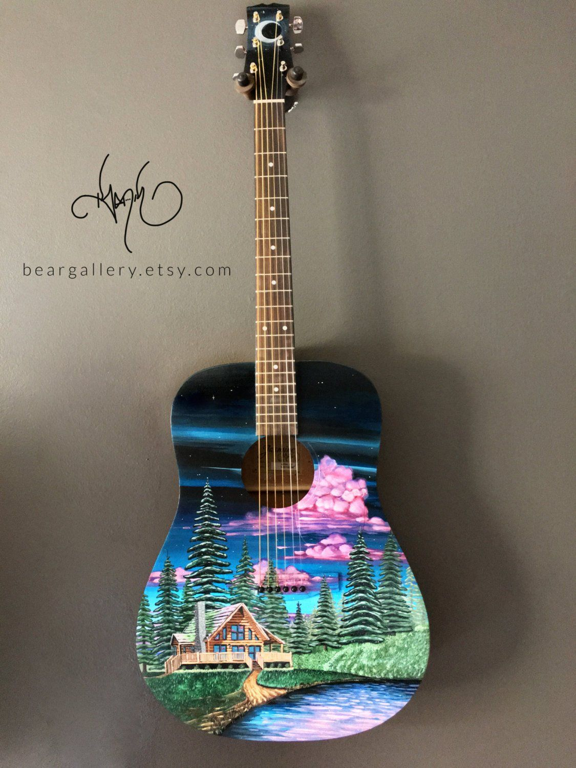 Custom Hand Painted Acoustic Guitar Forest Log Cabin Scenery
