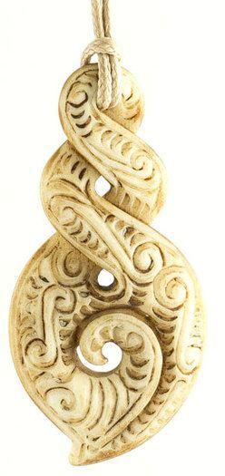 Maori Twist Tattoo: Aged Bone Ornate Double Twist Infinity Koru Scrimshaw
