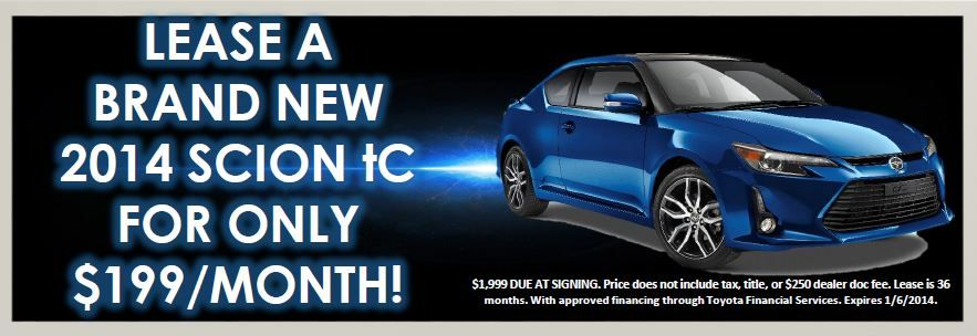 Lease a brand new 2014 Scion tC for only 199/Month! Call