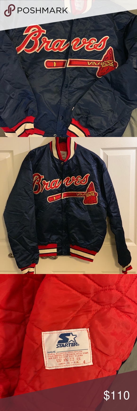Atlanta Braves Starter Clubhouse Jacket Size Large Jackets Atlanta Braves Clothes Design