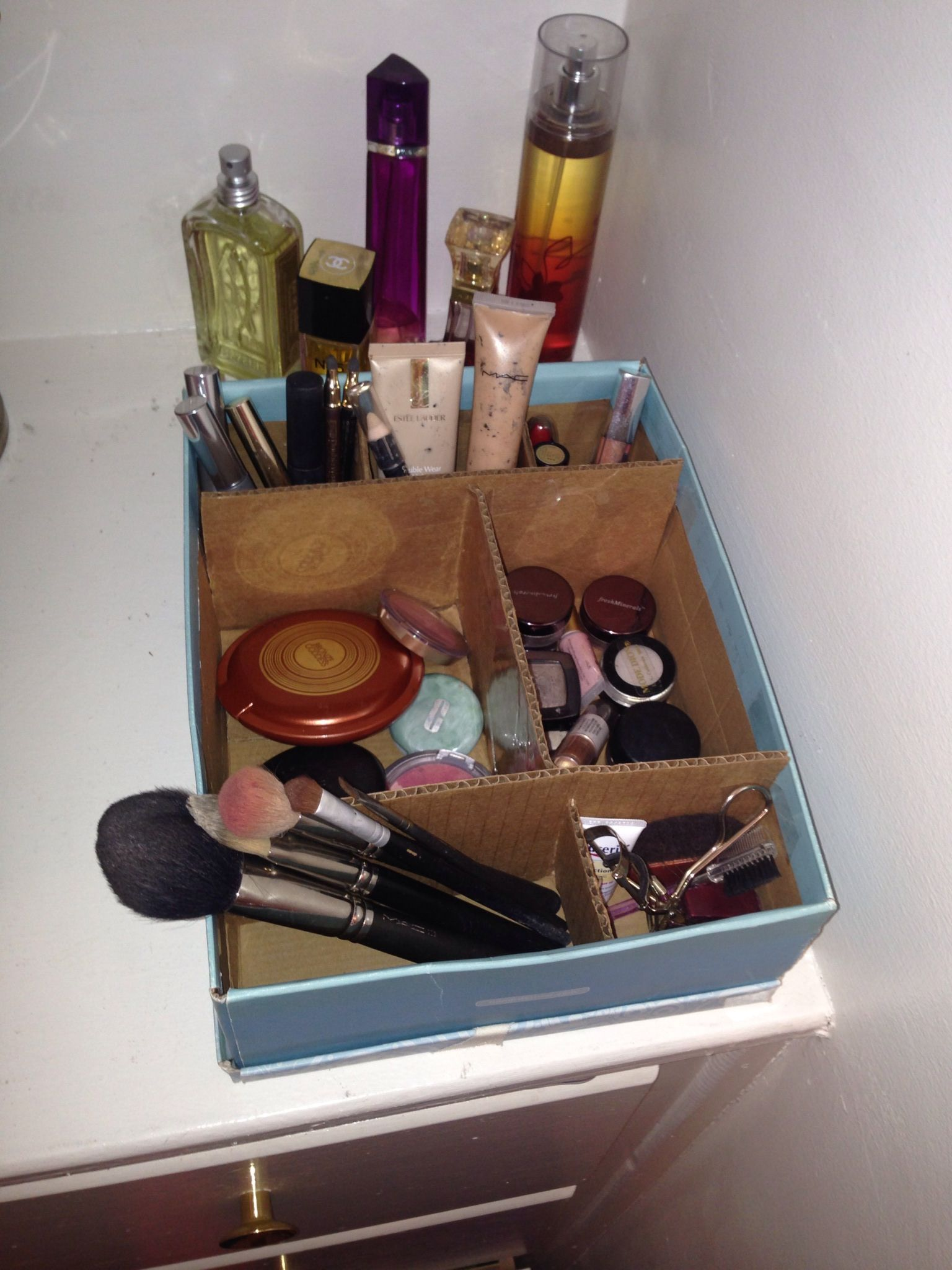 Diy Makeup Organizer Idea I Had That Worked For Me Shoe Box Cardboard Scissors And Tape Are All Needed