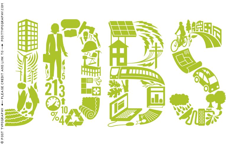Post Typography - green jobs lettering illustration us green ...