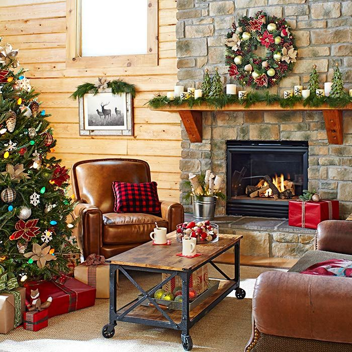 Deck your hearth in mini trees, poinsettias, and rustic candles ...