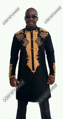 Details about Odeneho Wear Men Black Polished Cotton Outfit/Gold Embroidery.African Clothing #afrikanischekleider