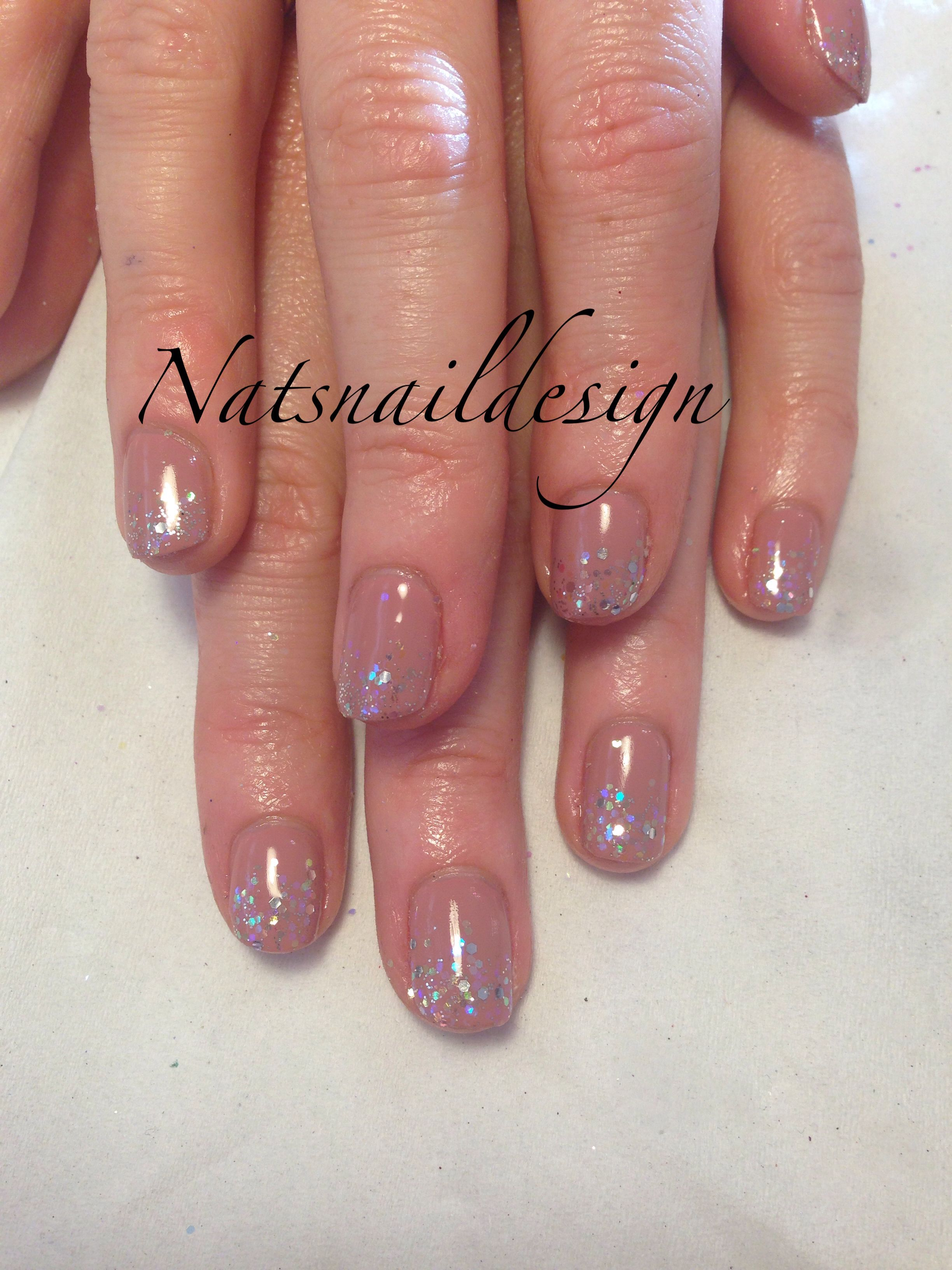 Gelish Neutral pink nails silver glitter #glitter | Nails design ...