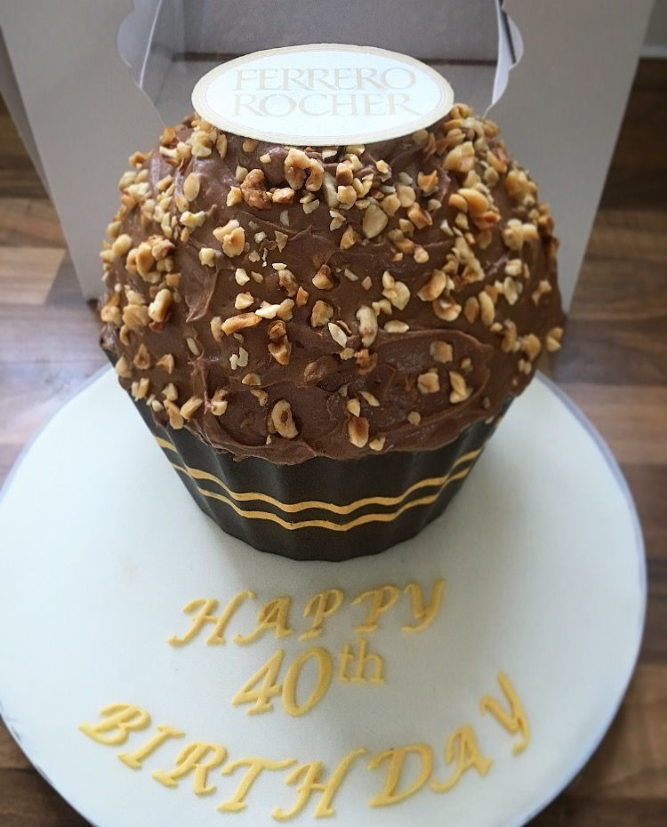 Ferrero Rocher Giant Cupcake With Images Giant Cupcake Recipes