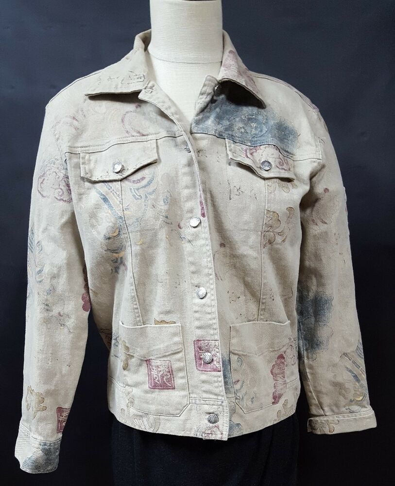 Details About Chicos Beige Jean Jacket Size 0 Small Abstract Print Button Front Taupe Pockets Jean Jacket Women Beige Jeans Print Buttons [ 1000 x 813 Pixel ]